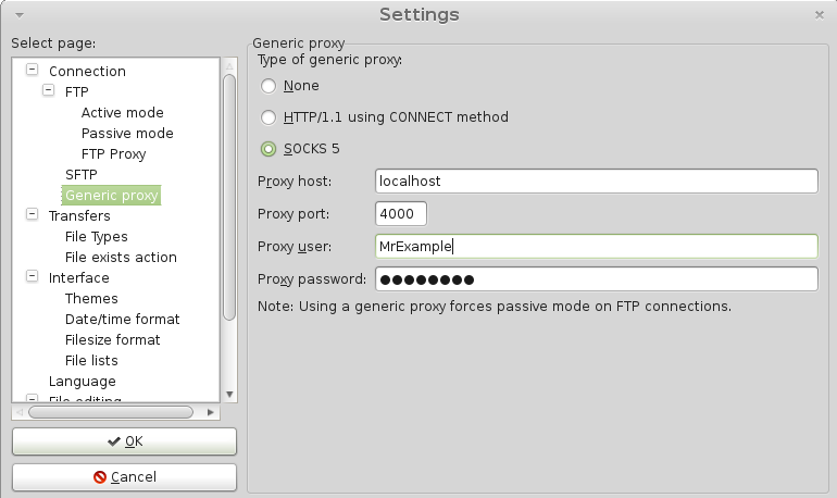Filezilla Socks5 Proxy